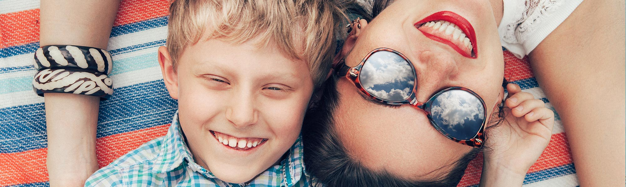 Mother and Son outdoors sunglasses